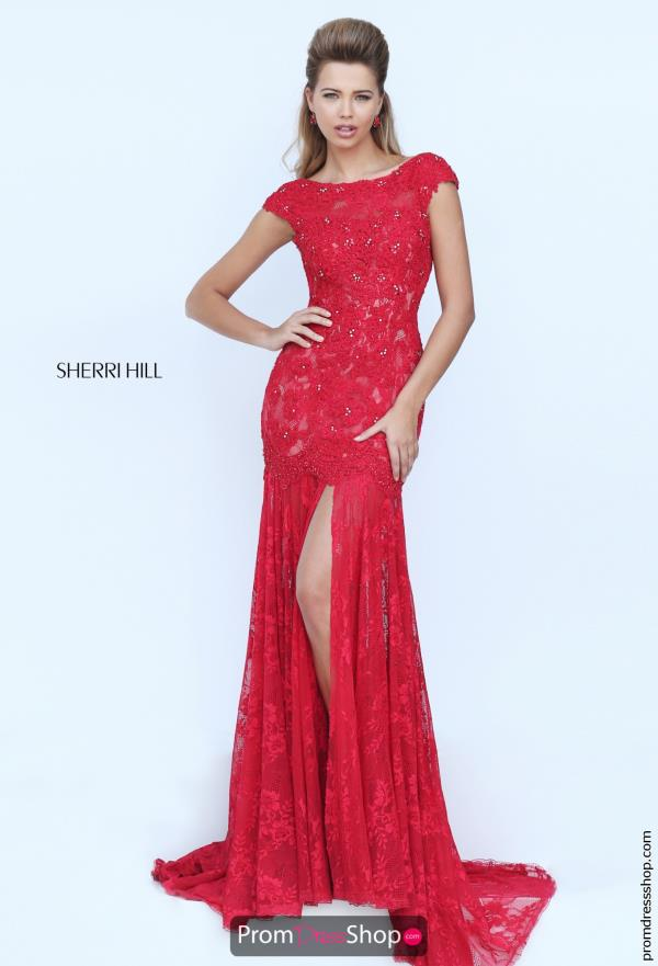 Sleeved Fitted Sherri Hill Lace Dress 50023