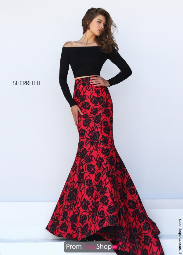 Sherri Hill Multi Print Mermaid Dress 50127