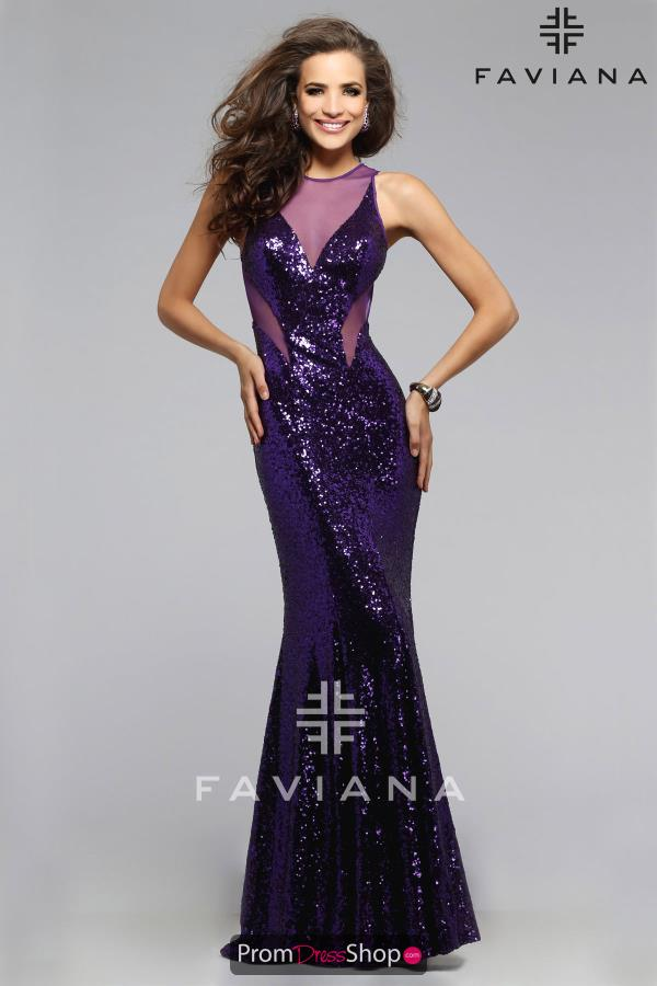 Faviana Sequins Fitted Open Back Dress 7331