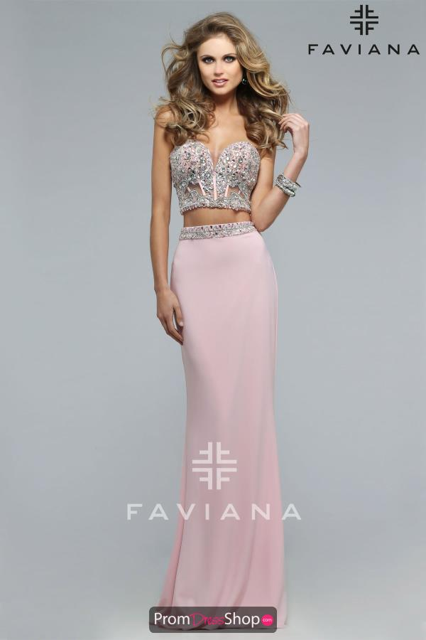 Faviana S7524 Beaded Crop Top Dress