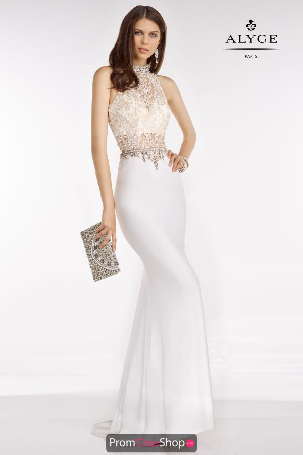 Long Ivory Beaded Alyce Paris Dress 6590