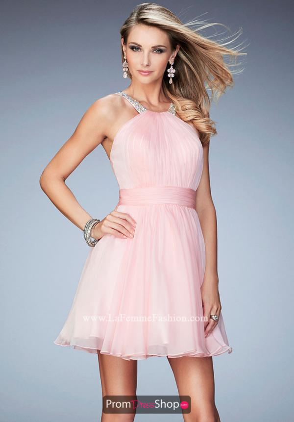 La Femme Short Halter Top Chiffon Dress 21885