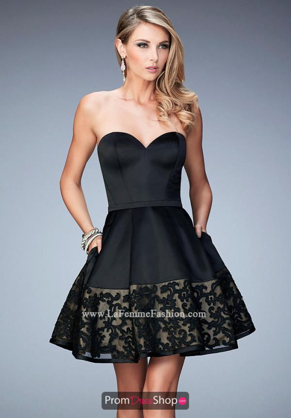 La Femme Short Satin A Line Dress 22330