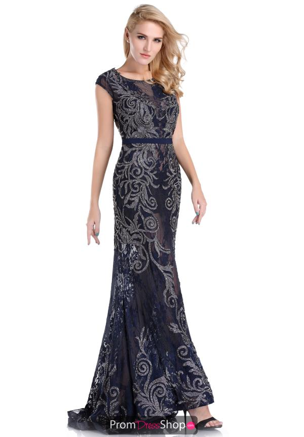 Long Navy Lace Romance Couture Dress RD1555