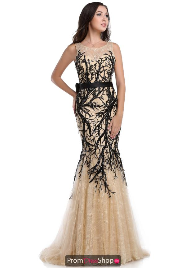 Black Beaded Romance Couture Dress RD1612