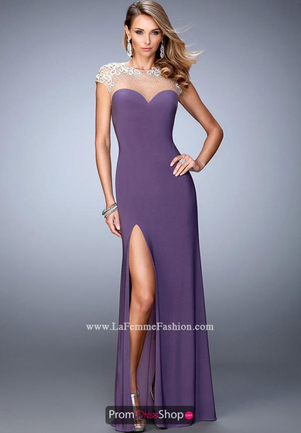 La Femme Long Navy Jersey Dress 21590