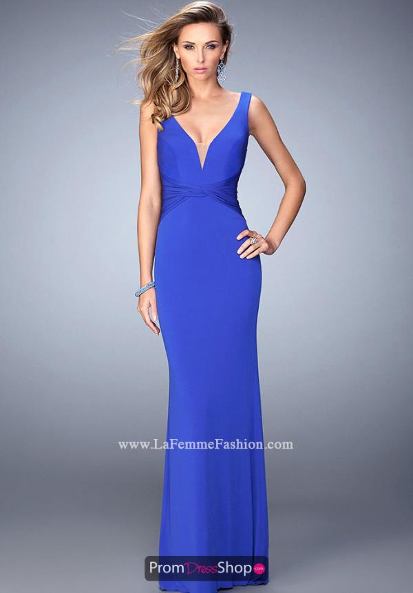 La Femme V Neckline Winter Formal Dress 22060