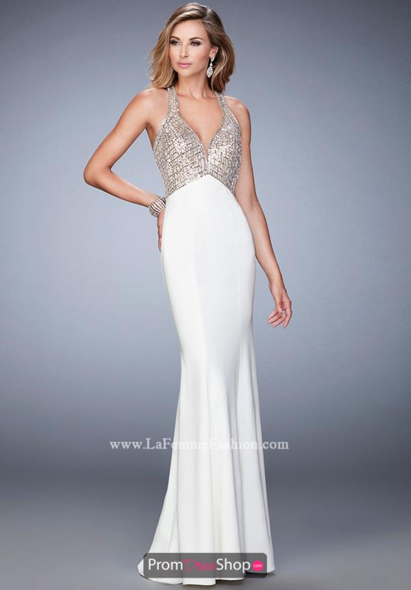 La Femme V- Neckline Beaded Dress 22189