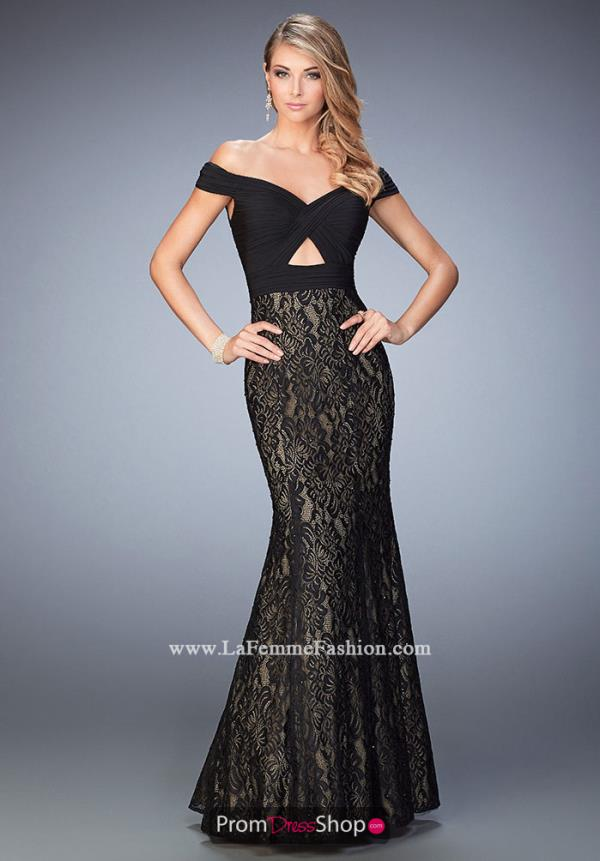 Long Black La Femme Dress 22342