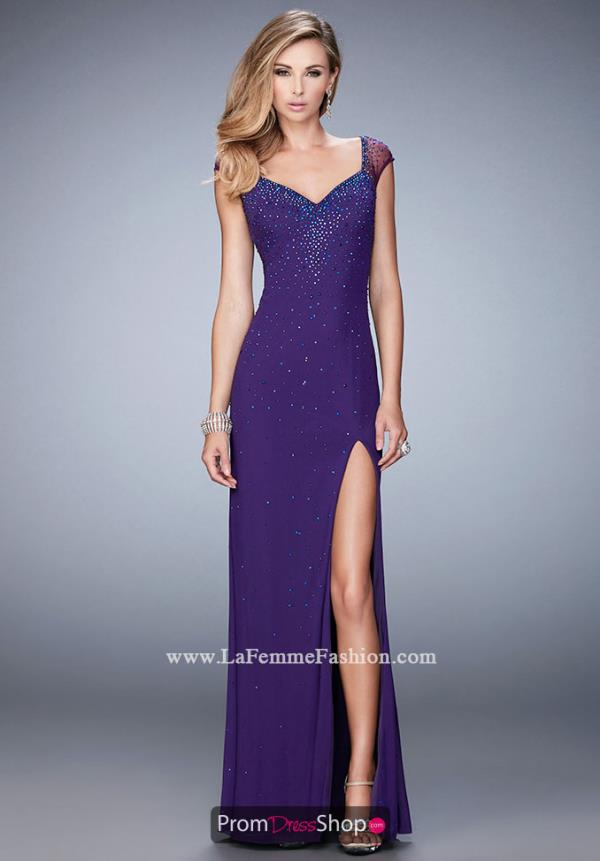 Long Beaded La Femme Dress 22343