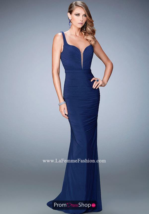 Long Navy Fitted La Femme Dress 22475