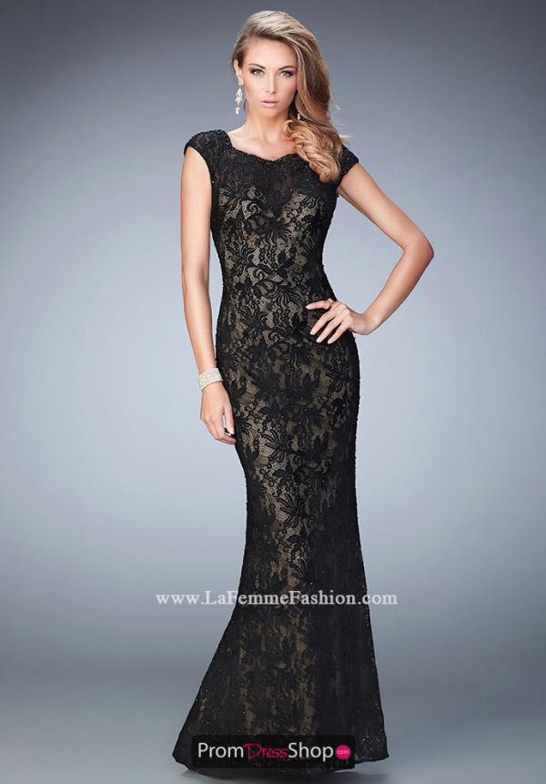 La Femme Long Beaded Dress 22479