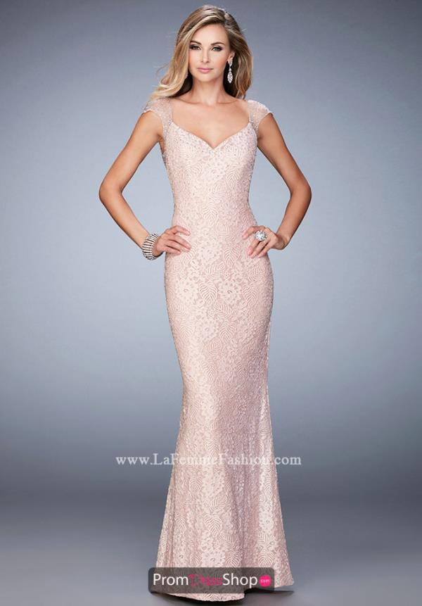 Sweetheart Neckline Fitted La Femme Dress 22493