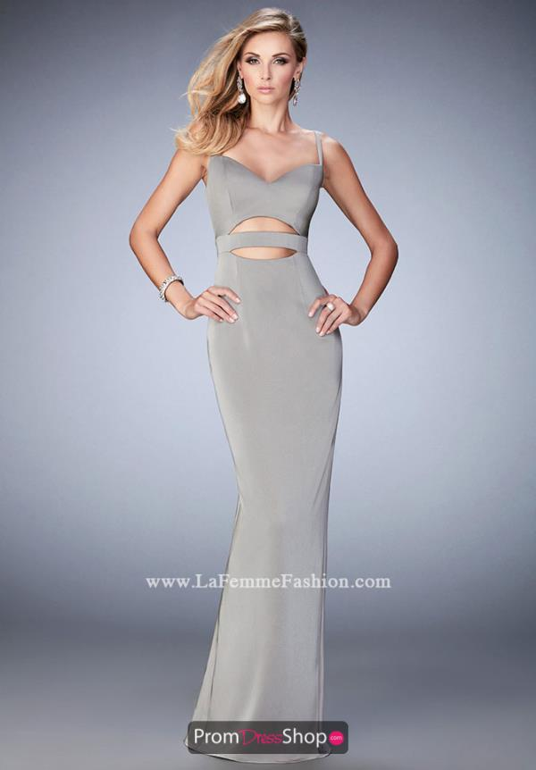 Long Sweetheart Neckline La Femme Dress 22689
