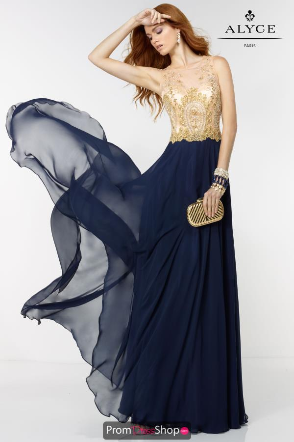 Beaded A Line Alyce Paris Navy Dress 6527