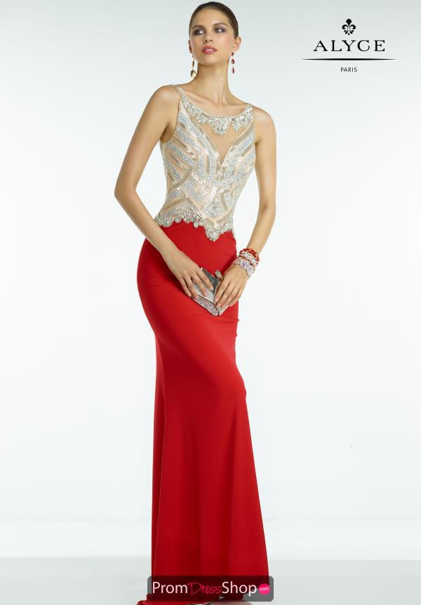 Long Beaded Alyce Paris Dress 6500