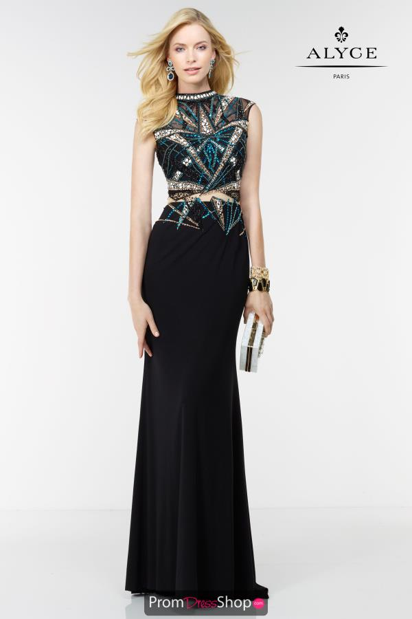 Long Beaded Alyce Paris Dress 6621