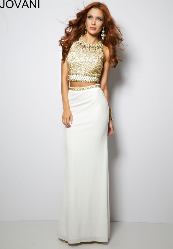 Jovani Two Piece Beaded White Dress 24302