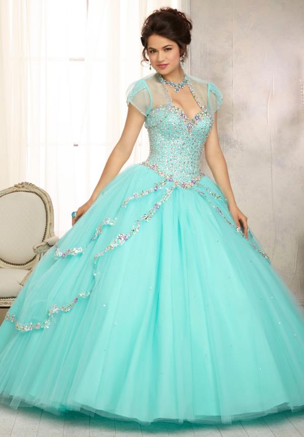 Vizcaya Aqua Lace Back Ball Gown 88091