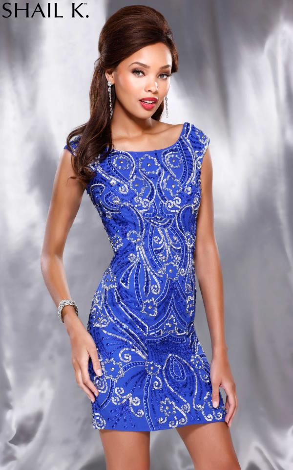 Shail K Sleeved Fitted Homecoming Dress 3234
