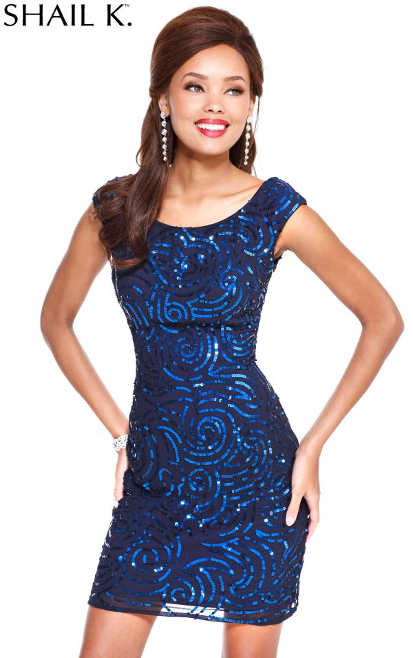 Shail K Navy Sequins Cocktail Party Dress 3704