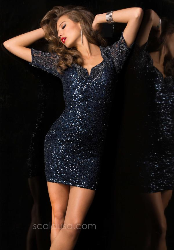 Scala Sleeved Navy Sequins Dress 48486