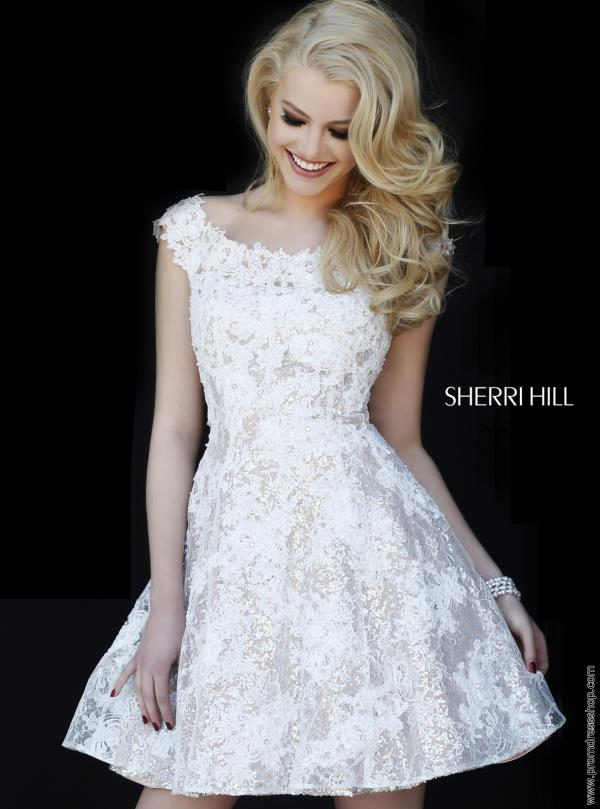Sherri Hill Short Ivory Lace Dress 11297