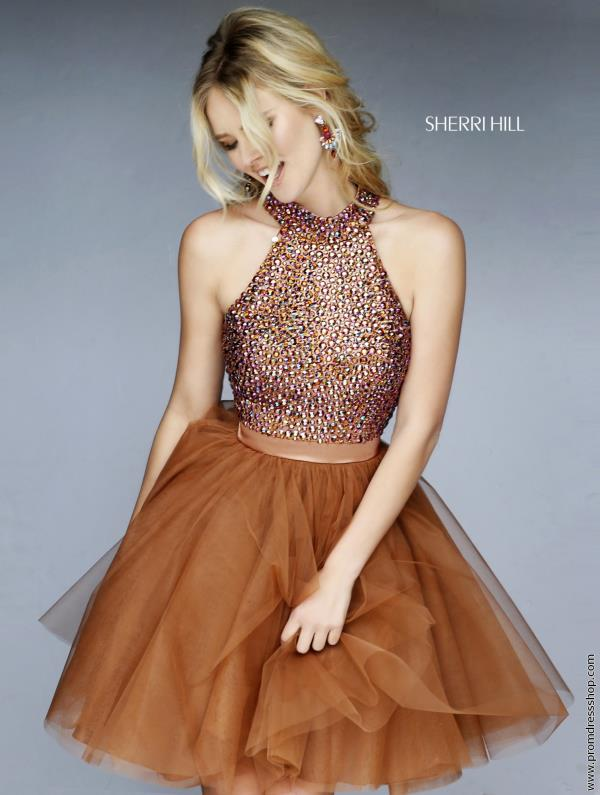 Brown Beaded Sherri Hill Short Dress 11306