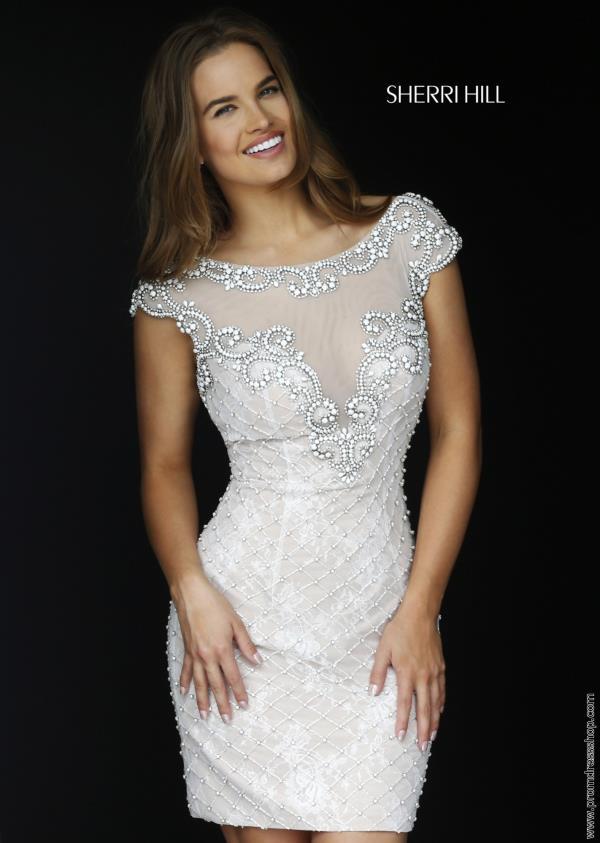 Cap sleeved fitted sherri hill short dress 11311 for Sherri hill short wedding dress