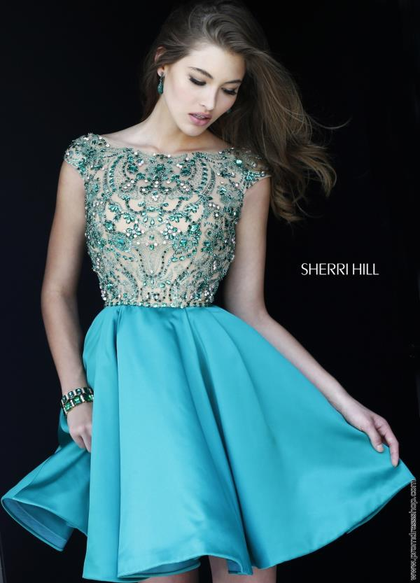 Sherri Hill Short Cap Sleeved Satin Dress 32273