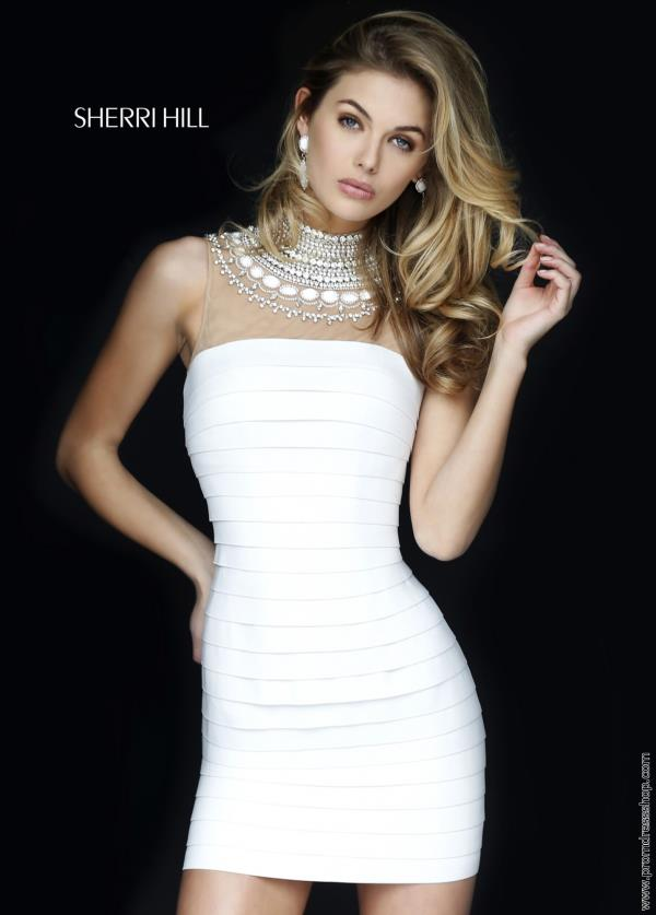 Sherri Hill Short Beaded High Neckline Dress 32283