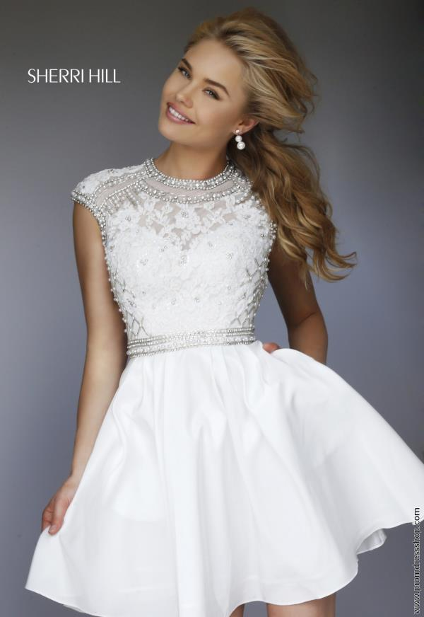Sherri Hill Short Beaded Graduation Dress 32317