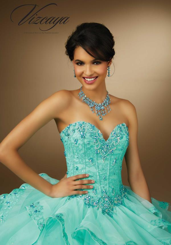 Vizcaya Quinceanera Lace Back Corset Bodice Dress 89056