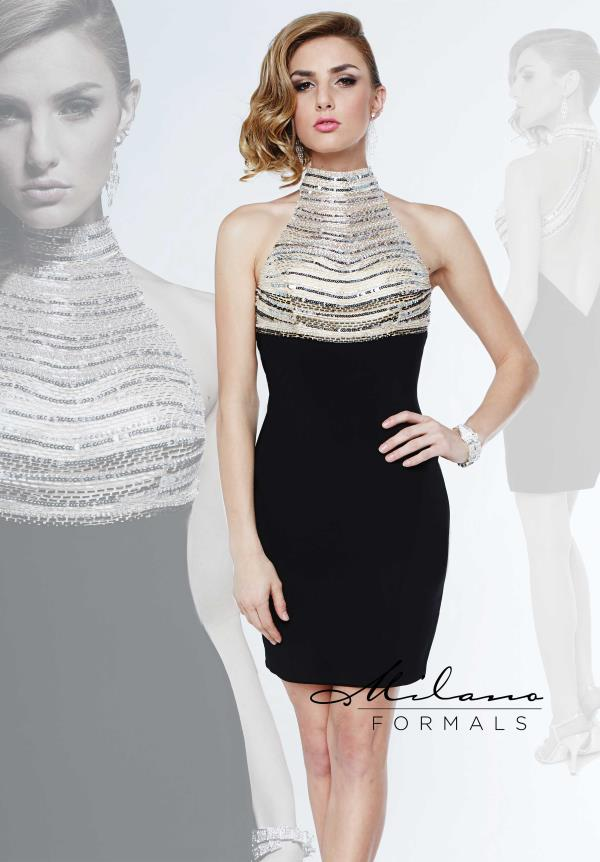 Milano Formals Black Winter Formal Dress E1875