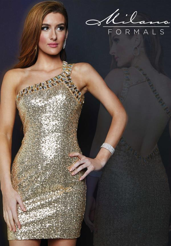 Milano Formals Gold One Strap Dress E1684