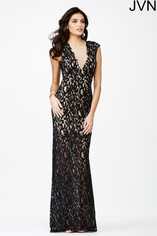 Cap Sleeved Long JVN by Jovani Dress JVN27505