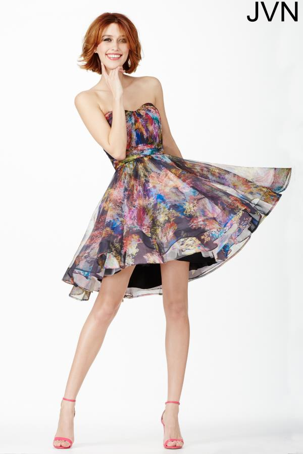 Strapless Multi Color JVN by Jovani Dress JVN32224