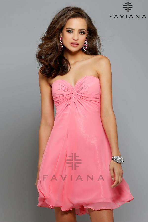 Short Stapless Faviana Graduation Dress 7650