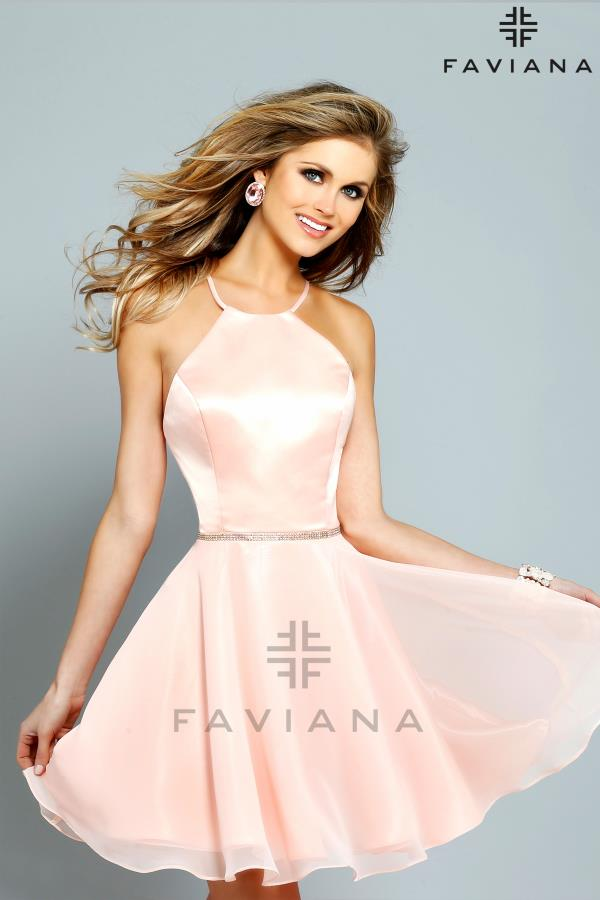 Faviana High Neckline Flowy Dress 7652