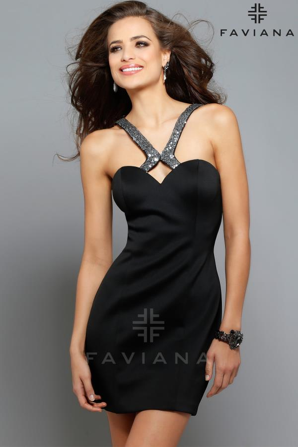 Faviana Black Fitted Dress 7655
