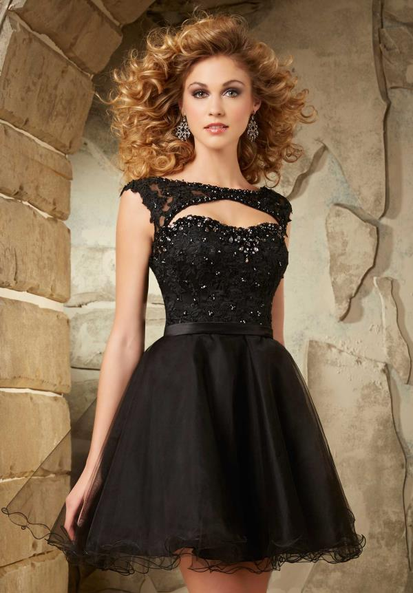 Mori Lee Sticks & Stones Sleeved Tulle Dress 9335
