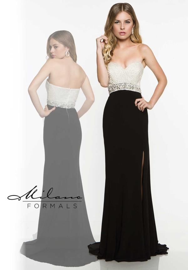 Beaded Strapless Milano Formals Evening Gown E1871