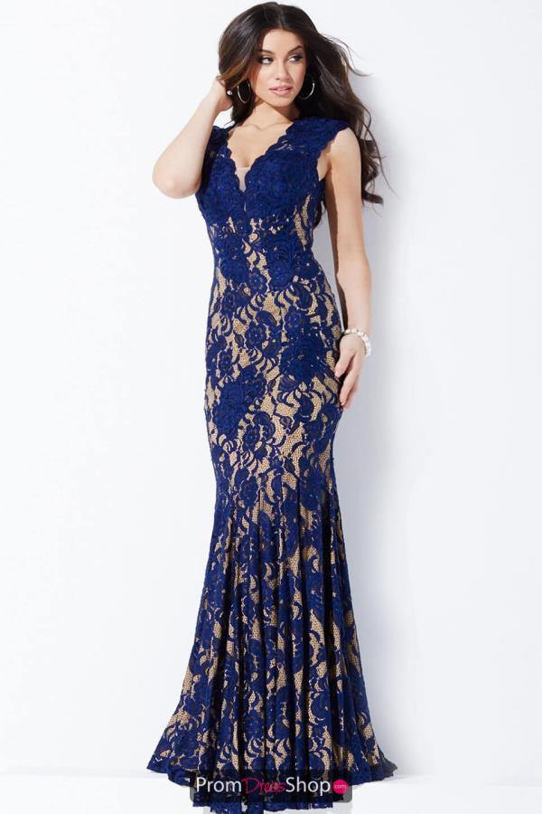 Cap Sleeved Navy Long Jovani Dress 28547