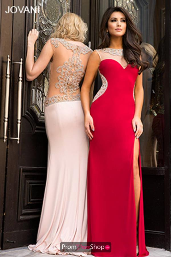 Jovani Beaded Sheer Back Dress 99085