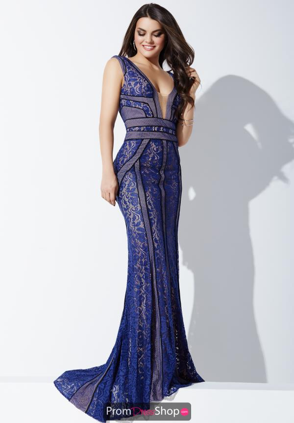 Jovani Navy Lace Fitted Dress 24658