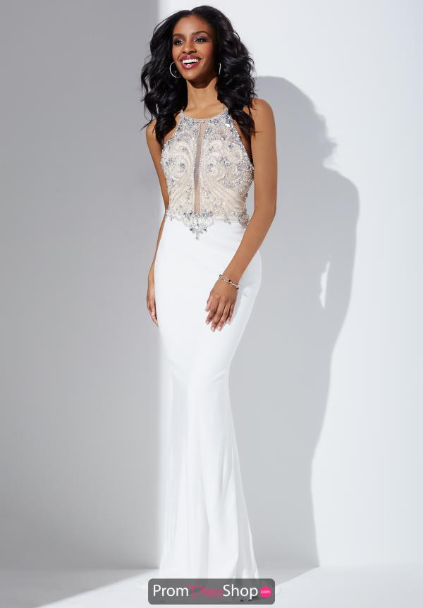 White Long Beaded Jovani Dress 33473