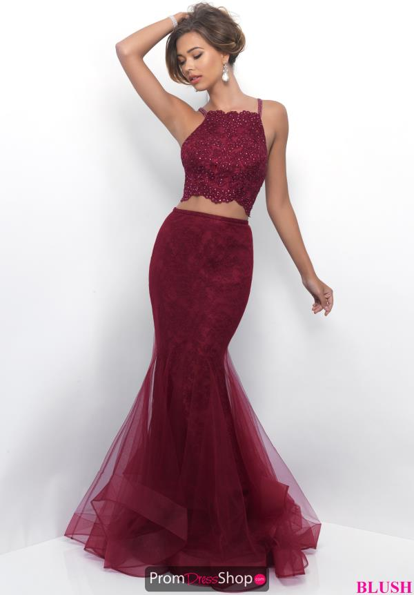 Wine colored crop top prom dress