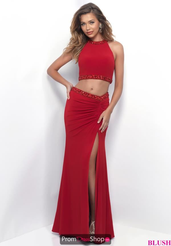 Long Blush High Halter Dress 11284