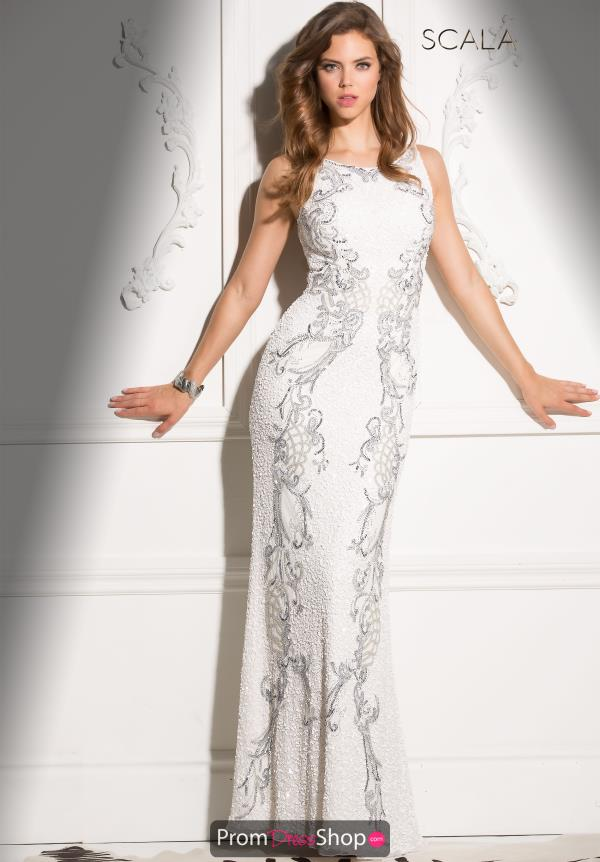 High Neckline Beaded Scala Dress 48550