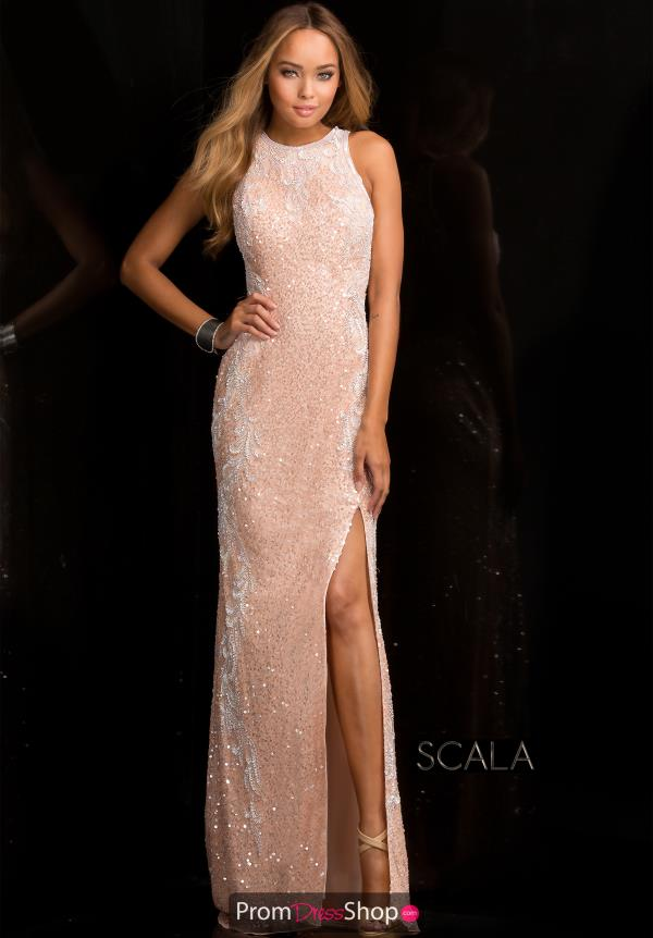 Scala High Neckline Beaded Dress 48665